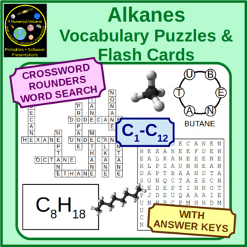Alkanes Vocabulary Puzzles and Flash Cards