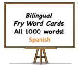 All 1000 Bilingual Fry Words, Spanish and English Flash Cards