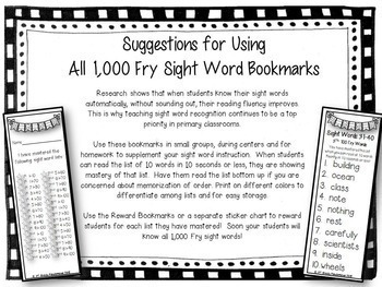 All 1,000 Fry Sight Words on Mastery Bookmarks
