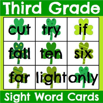 All 220 Sight Word Cards Saint Patrick's Day