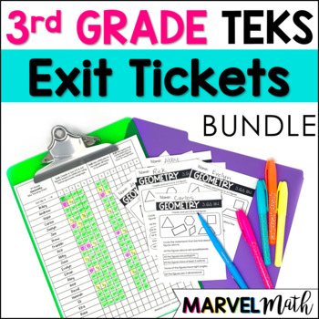 All 3rd Grade Math TEKS Exit Slips * Exit Tickets Bundle