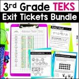 Distance Learning 3rd Grade Math TEKS Exit Slips * Exit Tickets Bundle