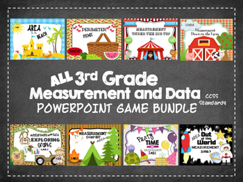 All 3rd Grade Measurement and Data PPT Games Bundle: CCSS 3.MD.1-8 Standards