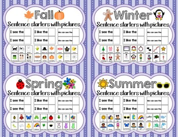 All 4 Seasons Sentence Starters with Pictures