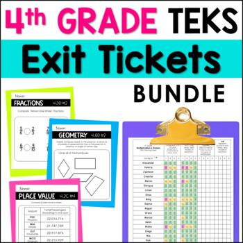 All 4th Grade Math TEKS Exit Slips * Exit Tickets Bundle