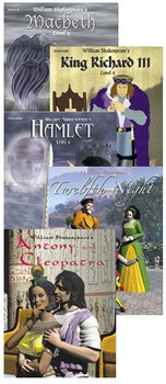 All 5 RL 4.0-5.0 Easy Reading Shakespeare titles as listed below