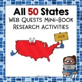 50 States Webquest Research Bundle Mini Book Activities Common Core
