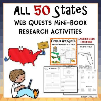 50 States Webquest Research Bundle Mini Book Activities Common Core