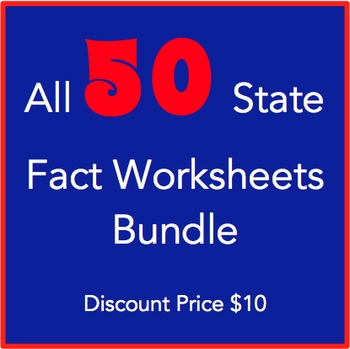 All 50 States Fact Worksheets Bundle: Elementary Version