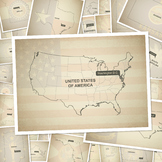Blank maps of every U.S. state with flag and a map of the USA