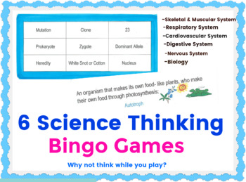 All 6 Science Thinking Bingos -BUNDLE SPECIAL (PDF)