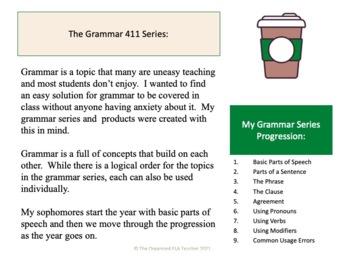 Grammar bundle: parts of speech, sentence parts, clauses, phrases, agreement