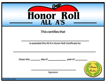 All A's Honor Roll Certificate (Apple) - Editable