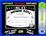 All A's Honor Roll Certificate (Black/White Stars) - Editable