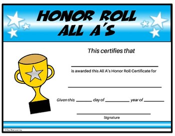 All A's Honor Roll Certificate - Editable