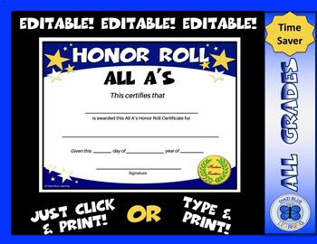 All A's Honor Roll Certificate Gold Stars - Editable