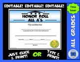 All A's Honor Roll Certificate (Schoolhouse) - Editable