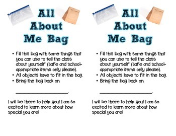 All About Me Bag (English and Spanish)