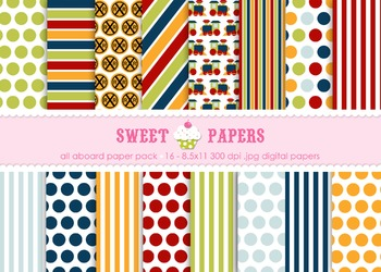 All Aboard Digital Paper Pack - by Sweet Papers