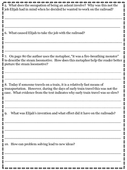 All Aboard! Elijah McCoy's Steam Engine Comprehension Questions--Wonders Reading