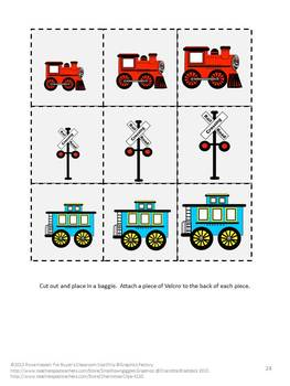 Trains File Folder Games Pre-K, Kindergarten, Special Education, Autism