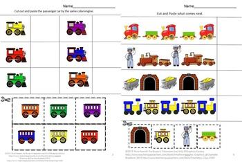 Trains Kindergarten Special Education Autism Cut and Paste Fine Motor