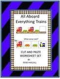 Train Theme Kindergarten Math & Literacy Cut and Paste Activities, Special Ed