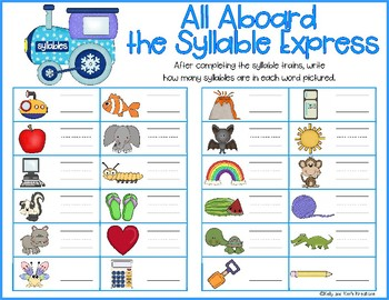 All Aboard the Syllable Express! {counting syllables literacy center}