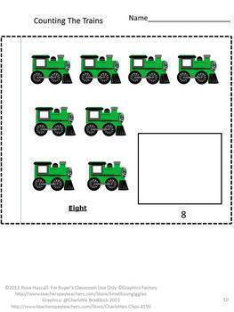 Train Math Literacy Bundle Special Education Early Childhood P-K, K Fine Motor