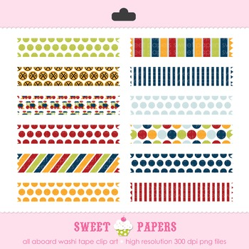 All Aboard Train Digital Washi Tape Clip Art Set - by Sweet Papers