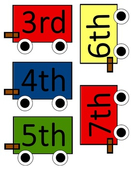 All Aboard Train Ordinal Number Cards