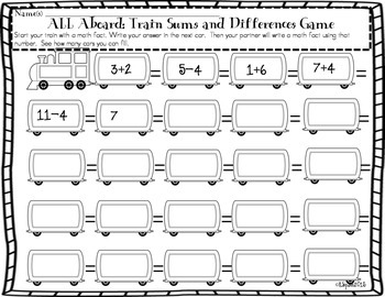 Freebie Math Computation Game All Aboard: Train Sums and Differences