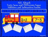 Freebie Math Computation Game All Aboard: Train Sums and D