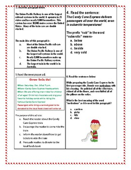 All Aboard the Candy Cane Express- A Mixed Skills Review GAME/SCOOT