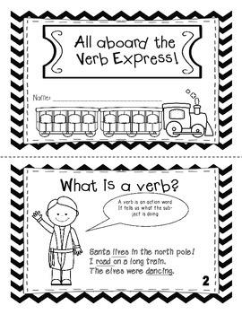 All Aboard the Verb Express Mini-Book ( Polar Express Themed)