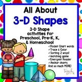 All About 3-D Shapes for Preschool, Pre-K, Kindergarten & Homeschool
