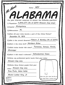 All About Alabama - Fifty States Project Based Learning Worksheet
