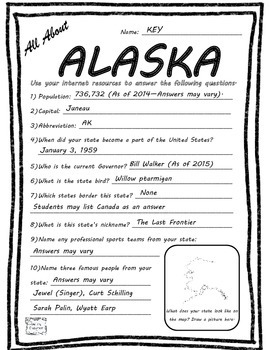 All About Alaska - Fifty States Project Based Learning Worksheet