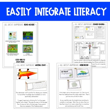 Amphibians Unit: Fact Pages, Life Cycle, Interactive Notebook Pages, and More
