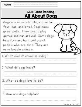 All About Animals- 20 Non Fiction Close Reading Printables