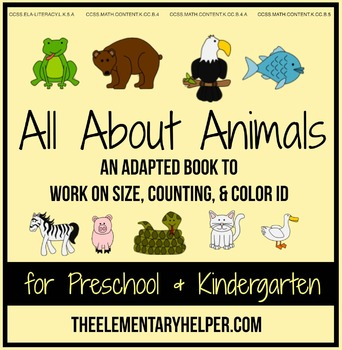 All About Animals Adapted Book for Preschool and Kindergarten