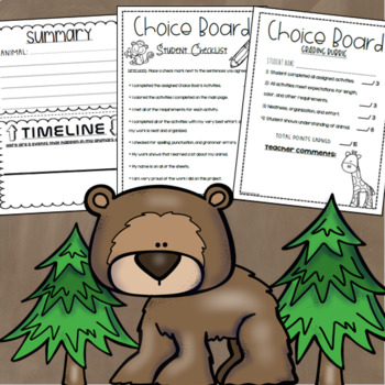 All About Animals Choice Board Tic Tac Toe Menu Research Project Activity
