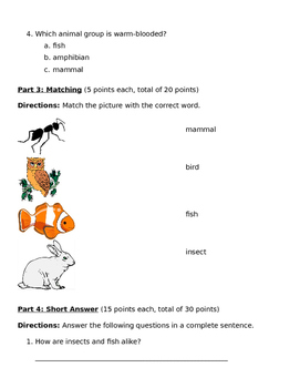 All About Animals Test