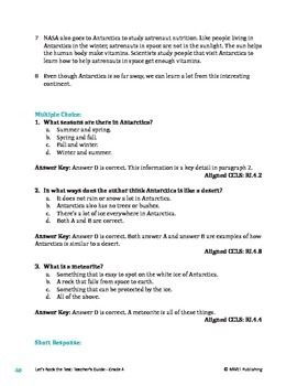 All About Antarctica - Informational Text Test Prep