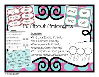 All About Antonyms Activities