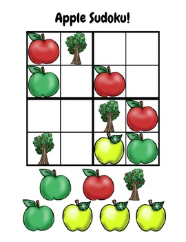 Apple Sudoku Activity Printable