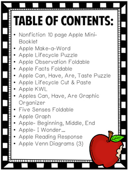 All About Apples Literacy and Science Packet