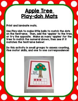 All About Apples Math Centers for Preschool, Pre-K, K, & Homeschool!
