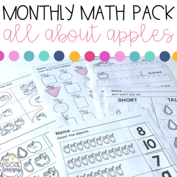 All About Apples Math Printables for Special Education