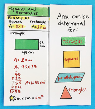 Math Doodle - All About Area Foldable by Math Doodles
